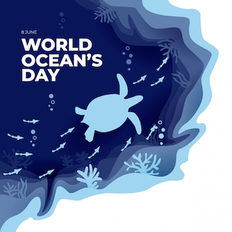 World ocean's day paper art flat greeting card with turtle and fish
