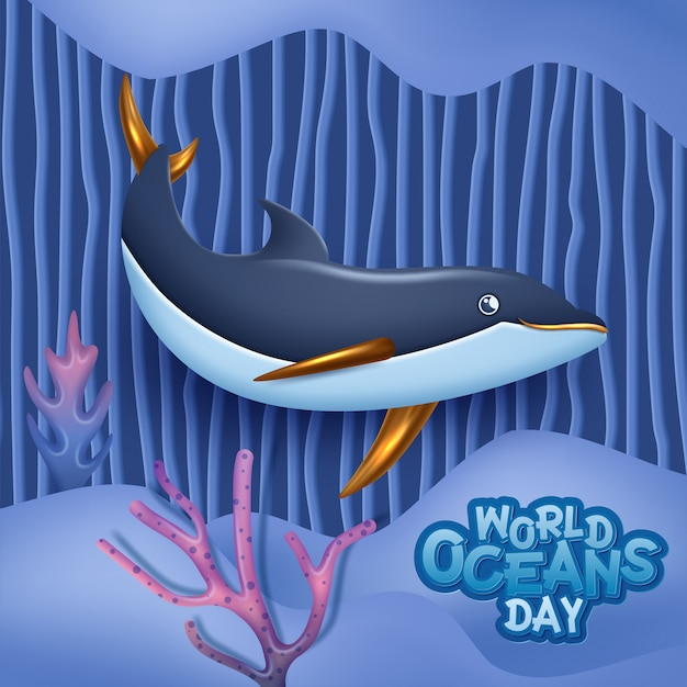 World oceans day 3d image concept. natural environment.  illustrationworld oceans day banner with cute dolphin.  illustration