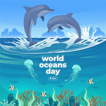 World oceans day 8 june save our ocean dolphin and fish were swimming underwater with beautiful coral and seaweed background vector illustration