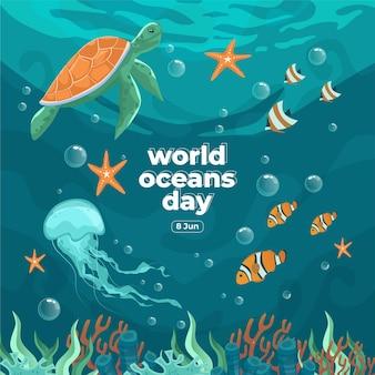 世界海洋デー6月8日私たちの海を救うウミガメのクラゲと魚は美しい珊瑚と海藻の背景のベクトル図で水中を泳いでいました