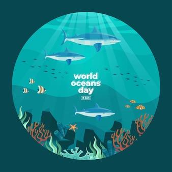 세계 해양의 날 6월 8일 우리의 바다를 구하라 상어와 물고기는 아름다운 산호와 해초 배경 벡터 삽화로 수중에서 수영하고 있었다