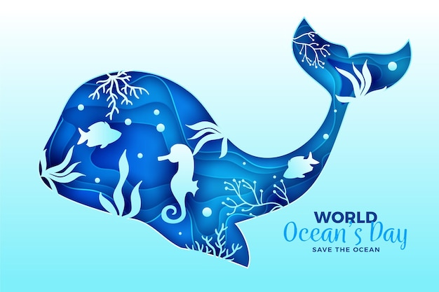 World oceans day background in paper style