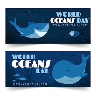 World oceans day banner collection