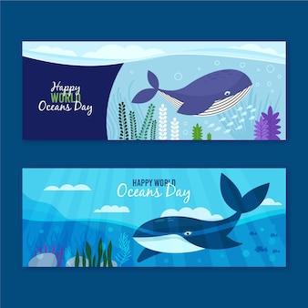 World oceans day banner concept