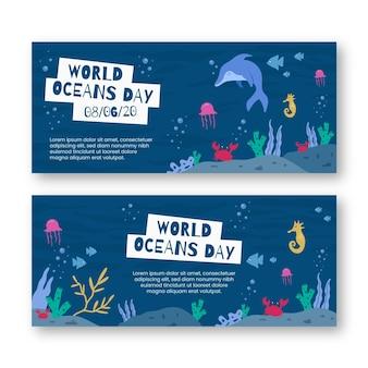 Banner di giornata mondiale degli oceani in design piatto