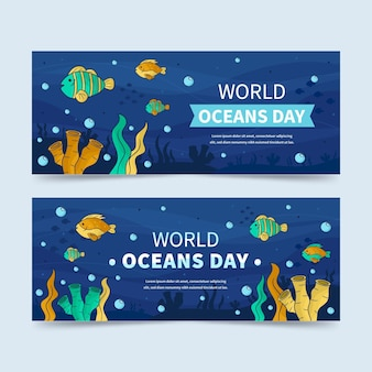 World oceans day banner hand drawn style