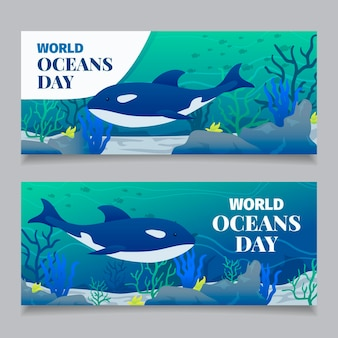 フラットなデザインの世界海の日バナー