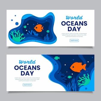 종이 스타일에서 세계 바다의 날 배너