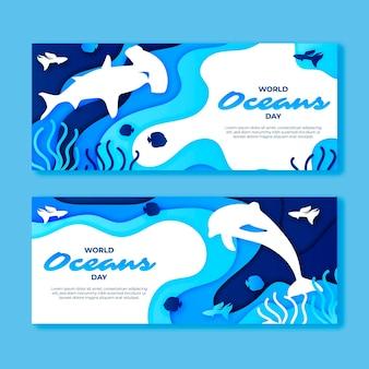 紙のスタイルで世界海の日バナー