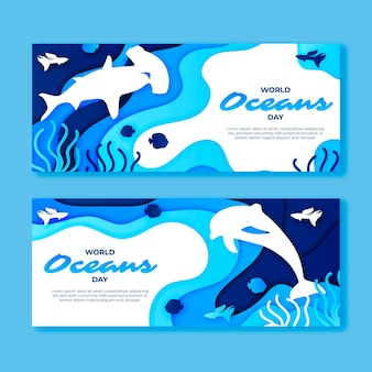 World oceans day banner in paper style