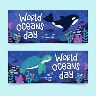 World oceans day banner set concept