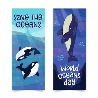 World oceans day banner set design
