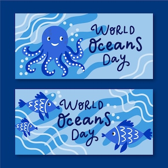 World oceans day banner set theme