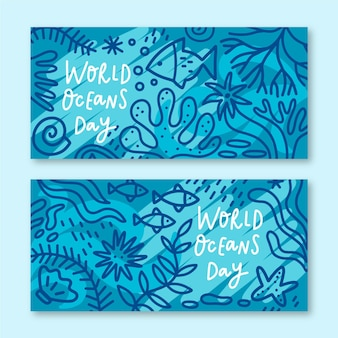 World oceans day banner set