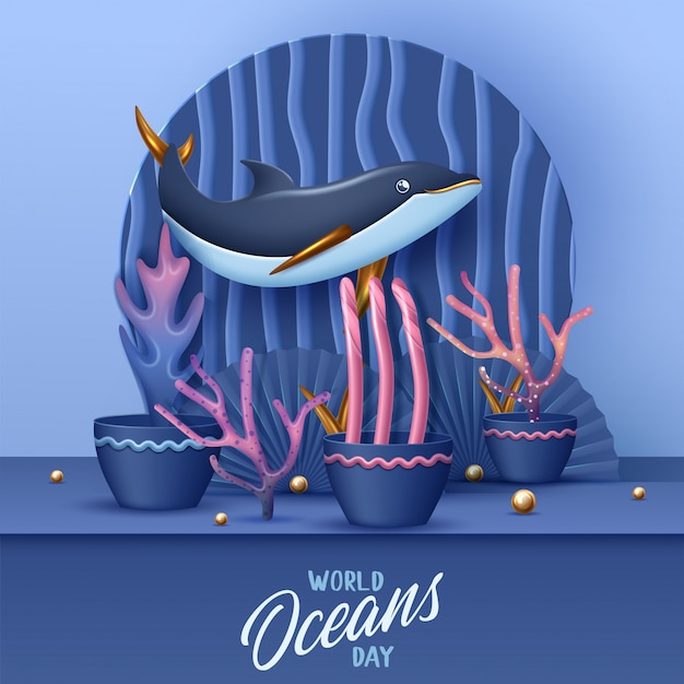 World oceans day banner with cute dolphin.  illustration
