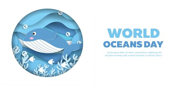 Всемирный день океана баннер с милой дельфина в стиле бумаги вырезать.
