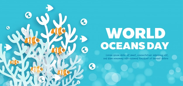 World oceans day banner with cute dolphin in paper cut style.