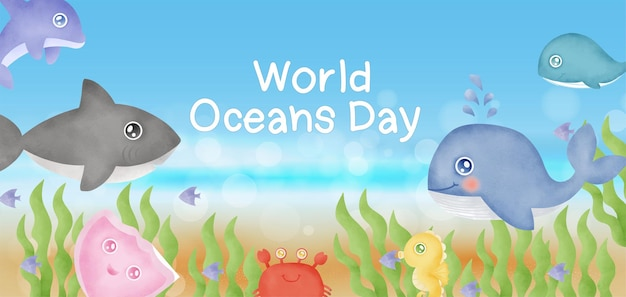 World oceans day banner with sea animals in watercolor style