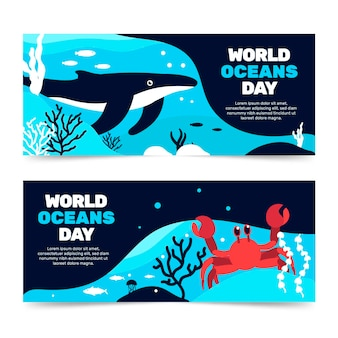World oceans day banners concept