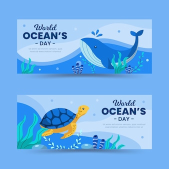 World oceans day banners design