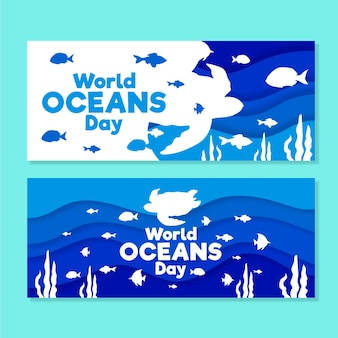 World oceans day banners drawn concept