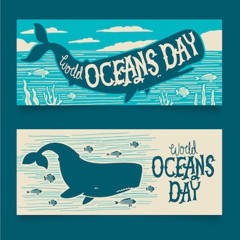 World oceans day banners drawn design