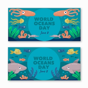 World oceans day banners drawn template