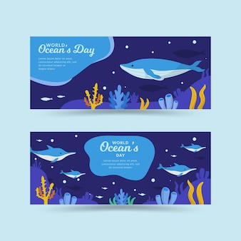 World oceans day banners style