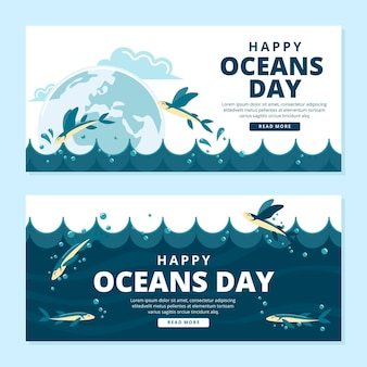 World oceans day banners template