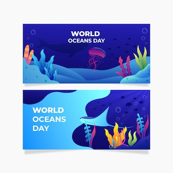 World oceans day banners with jelly fish