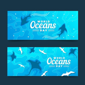 World oceans day banners with sharks
