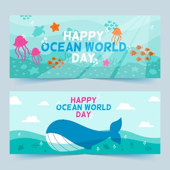 World oceans day banners with whale