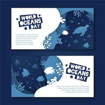 World oceans day banners