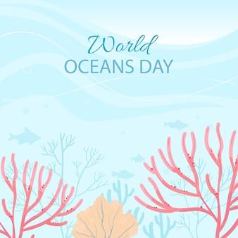 世界海の日カードイラスト。世界の海、水、生態系の保護と保全を支援します。