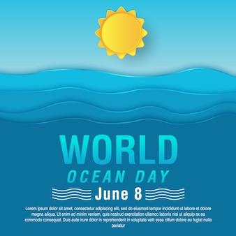 Всемирная открытка на день океана векторная иллюстрация