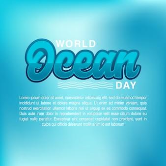 World oceans day card vector illustration