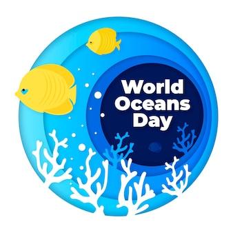 Празднование всемирного дня океанов в бумажном стиле