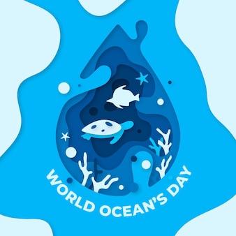 Концепция всемирного дня океанов в бумажном стиле