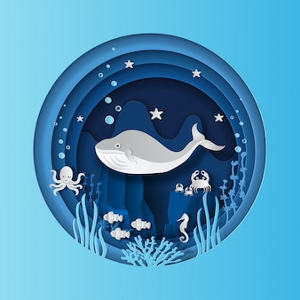 World oceans day concept, many sea creatures underwater, help to protect animal and environment.