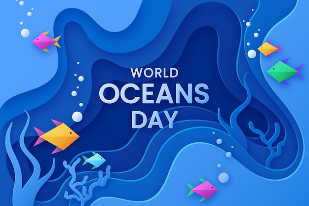World oceans day concept in paper style