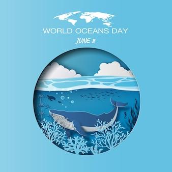 Концепция всемирного дня океанов: голубой кит плавает у поверхности с прекрасным видом на голубое небо и коралловые рифы