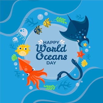 World oceans day cute underwater life