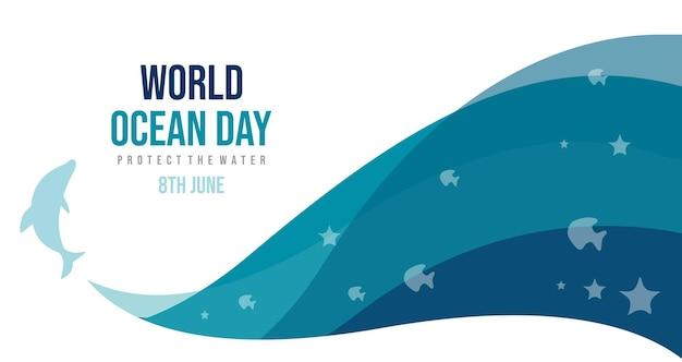 Дизайн всемирного дня океанов с шаблоном плаката с дельфинами