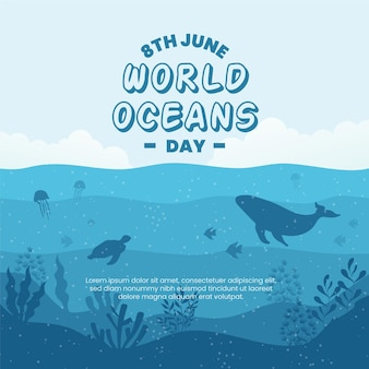 World oceans day design with turtle