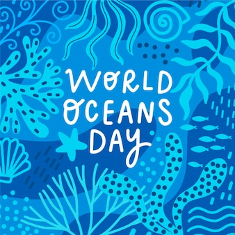 Концепция рисования всемирного дня океанов