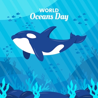 World oceans day drawing concept