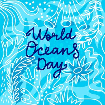 World oceans day drawing design