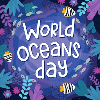 World oceans day drawing style