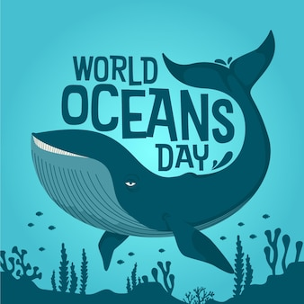 World oceans day drawn