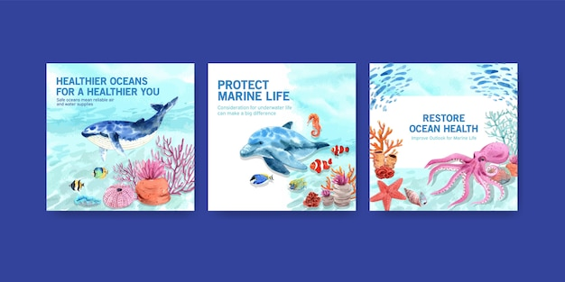 World oceans day environment protection concept advertising template with whale and octopus.